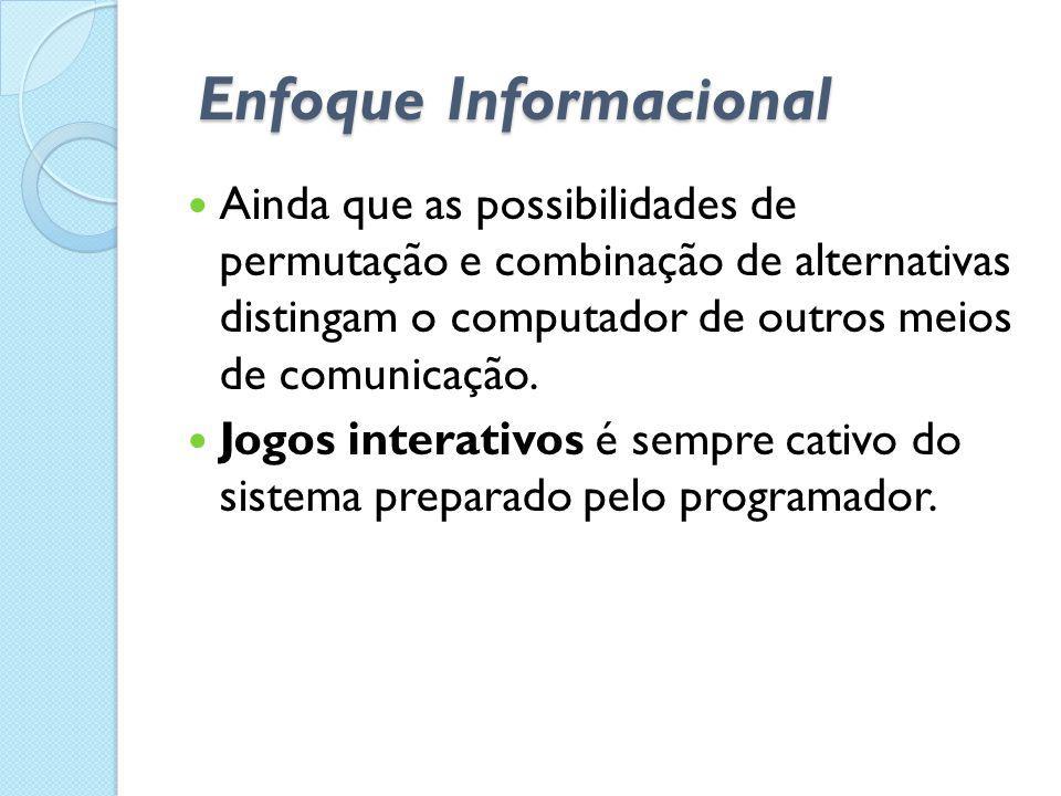 Enfoque Informacional  Ainda que as possibilidades de permutação e combinação de alternativas distingam o computador de outros meios de comunicação.