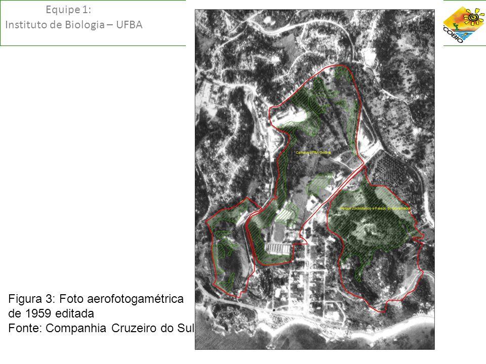 Equipe 1: Instituto de Biologia – UFBA Figura 3: Foto aerofotogamétrica de 1959 editada Fonte: Companhia Cruzeiro do Sul