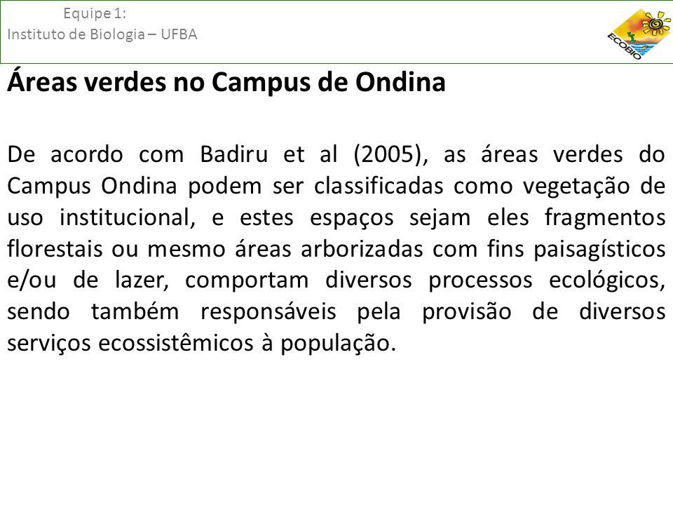Equipe 1: Instituto de Biologia – UFBA Áreas verdes no Campus de Ondina De acordo com Badiru et al (2005), as áreas verdes do Campus Ondina podem ser
