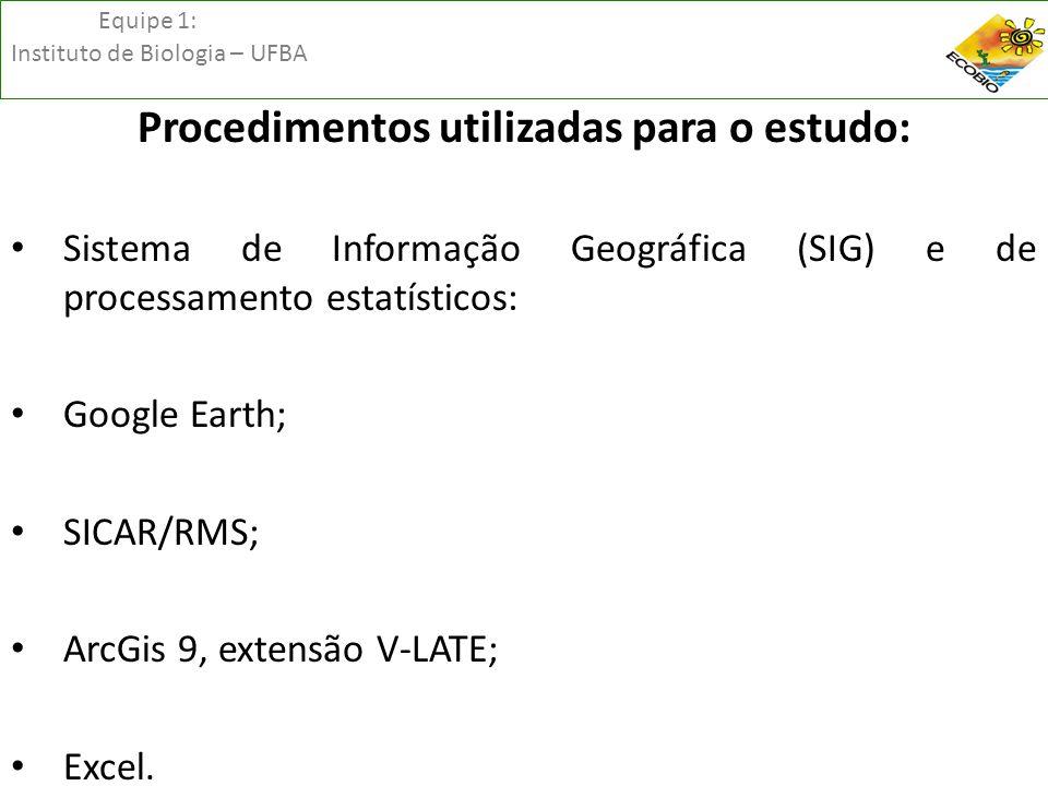 Equipe 1: Instituto de Biologia – UFBA Procedimentos utilizadas para o estudo: • Sistema de Informação Geográfica (SIG) e de processamento estatístico