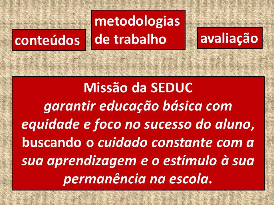 conteúdos metodologias de trabalho avaliação Missão da SEDUC garantir educação básica com equidade e foco no sucesso do aluno, buscando o cuidado constante com a sua aprendizagem e o estímulo à sua permanência na escola.