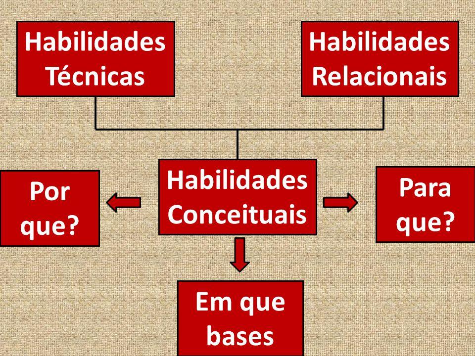 Habilidades Técnicas Habilidades Relacionais Habilidades Conceituais Por que.