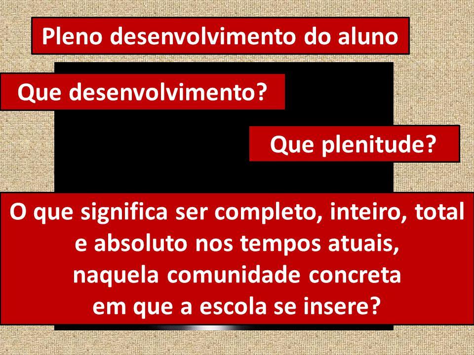Pleno desenvolvimento do aluno Que desenvolvimento.