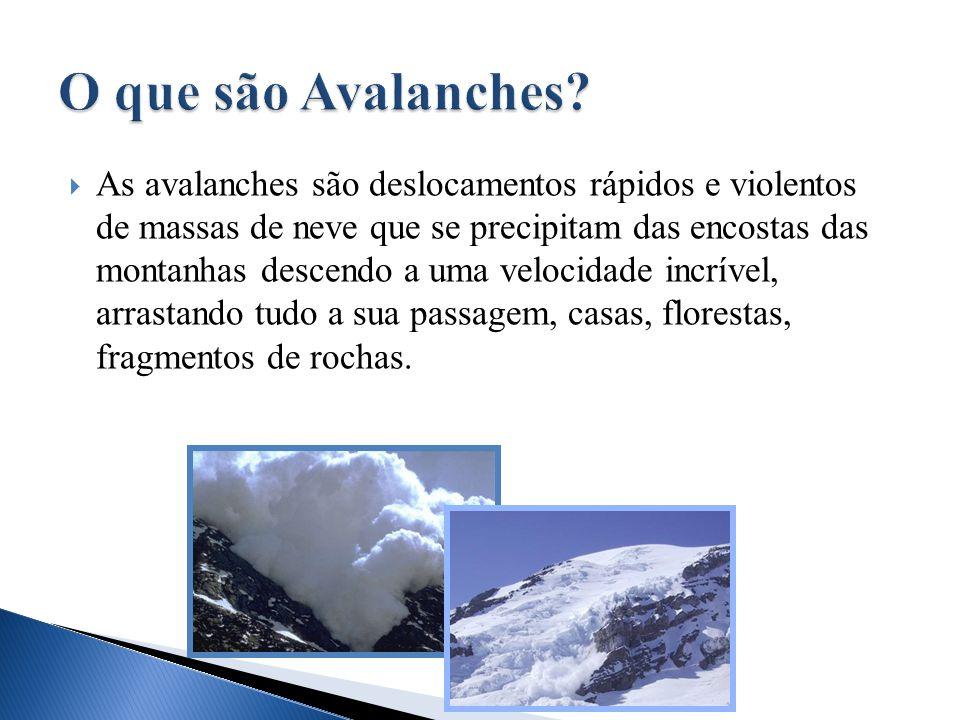  As avalanches são deslocamentos rápidos e violentos de massas de neve que se precipitam das encostas das montanhas descendo a uma velocidade incríve