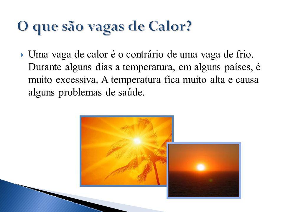  Uma vaga de calor é o contrário de uma vaga de frio. Durante alguns dias a temperatura, em alguns países, é muito excessiva. A temperatura fica muit