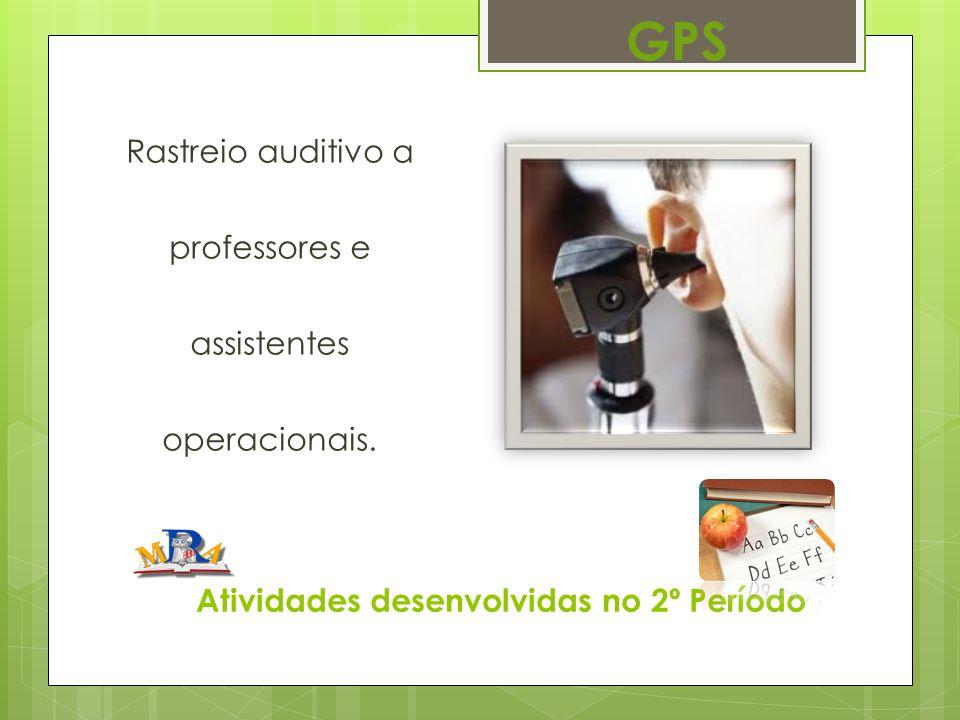 Atividades desenvolvidas no 2º Período Rastreio auditivo a professores e assistentes operacionais. GPS