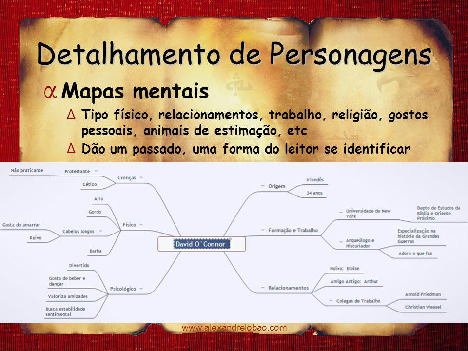 www.alexandrelobao.com Detalhamento de Personagens α Mapas mentais Δ Tipo físico, relacionamentos, trabalho, religião, gostos pessoais, animais de est