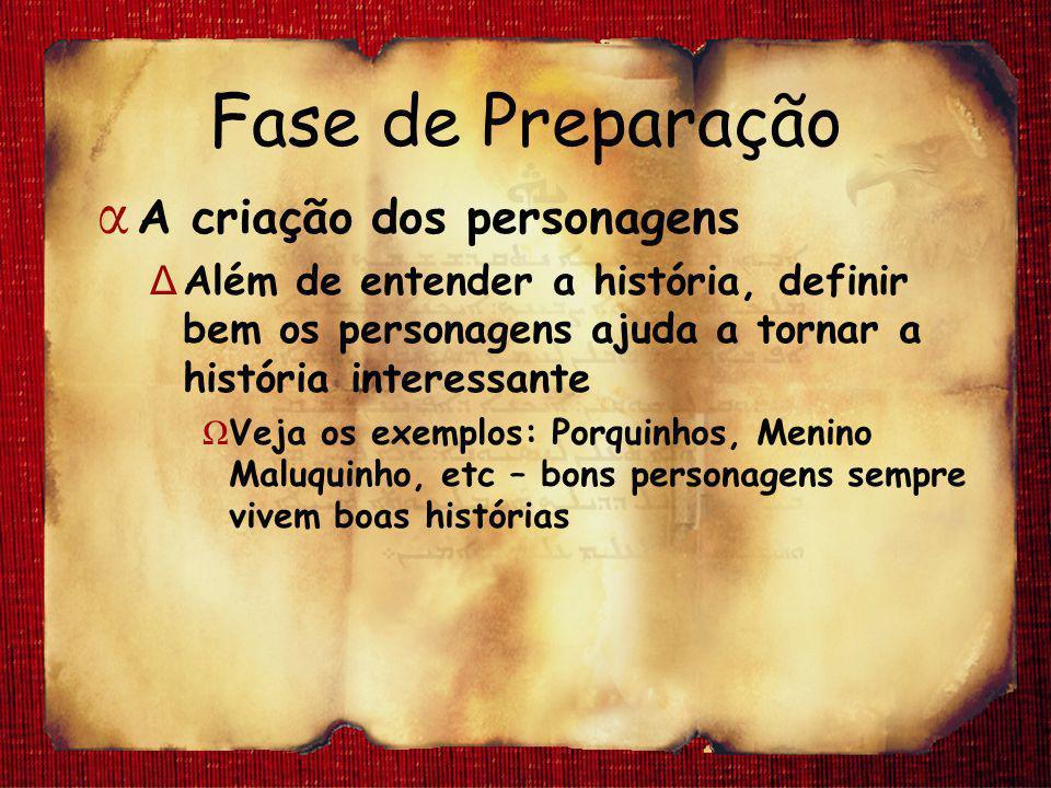 Fase de Preparação α A criação dos personagens Δ Além de entender a história, definir bem os personagens ajuda a tornar a história interessante Ω Veja