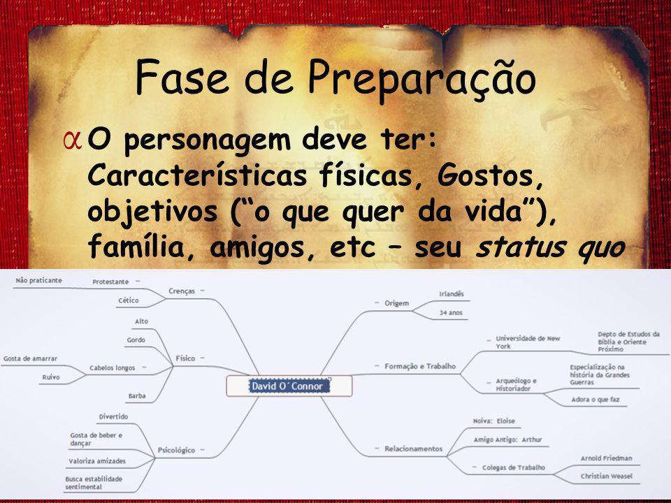 """Fase de Preparação α O personagem deve ter: Características físicas, Gostos, objetivos (""""o que quer da vida""""), família, amigos, etc – seu status quo"""