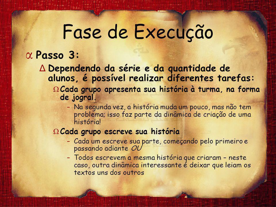 Fase de Execução α Passo 3: Δ Dependendo da série e da quantidade de alunos, é possível realizar diferentes tarefas: Ω Cada grupo apresenta sua histór