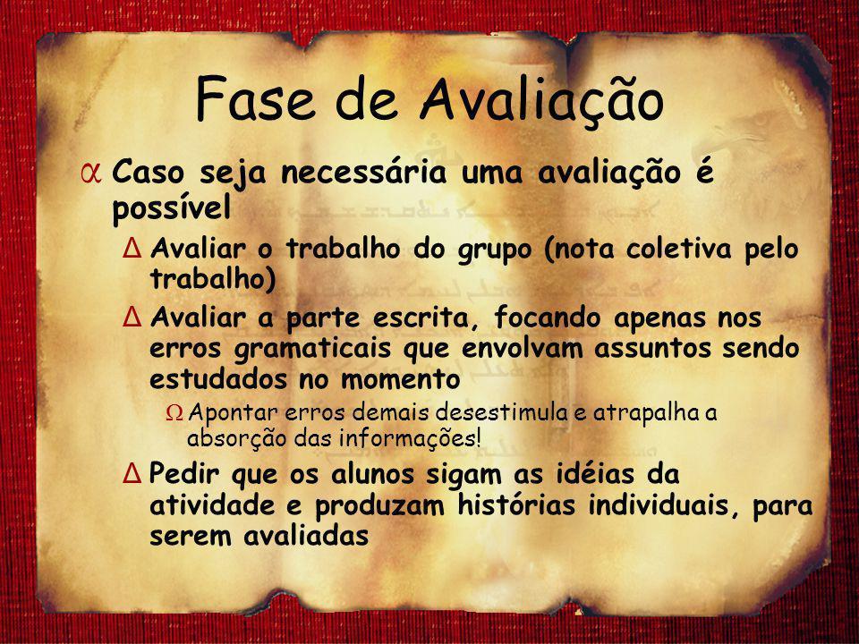 Fase de Avaliação α Caso seja necessária uma avaliação é possível Δ Avaliar o trabalho do grupo (nota coletiva pelo trabalho) Δ Avaliar a parte escrit