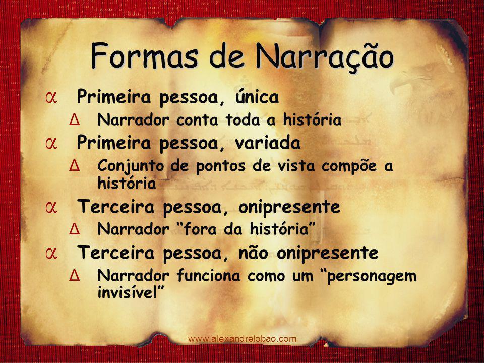 www.alexandrelobao.com Formas de Narração α Primeira pessoa, única Δ Narrador conta toda a história α Primeira pessoa, variada Δ Conjunto de pontos de