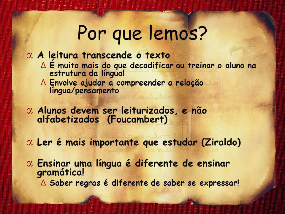 Por que lemos? α A leitura transcende o texto Δ É muito mais do que decodificar ou treinar o aluno na estrutura da língua! Δ Envolve ajudar a compreen