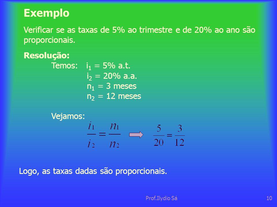Prof.Ilydio Sá10 Exemplo Verificar se as taxas de 5% ao trimestre e de 20% ao ano são proporcionais. Resolução: Temos: i 1 = 5% a.t. i 2 = 20% a.a. n