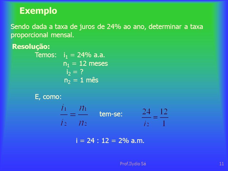 Prof.Ilydio Sá11 Exemplo Sendo dada a taxa de juros de 24% ao ano, determinar a taxa proporcional mensal. Resolução: Temos: i 1 = 24% a.a. n 1 = 12 me