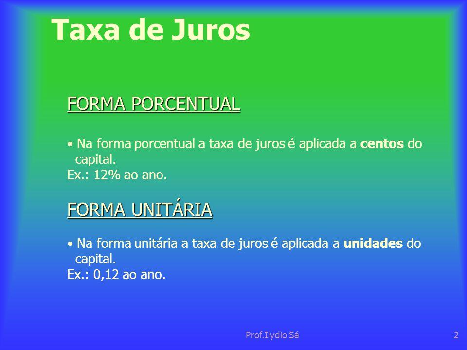 Prof.Ilydio Sá2 Taxa de Juros FORMA PORCENTUAL • Na forma porcentual a taxa de juros é aplicada a centos do capital. Ex.: 12% ao ano. FORMA UNITÁRIA •