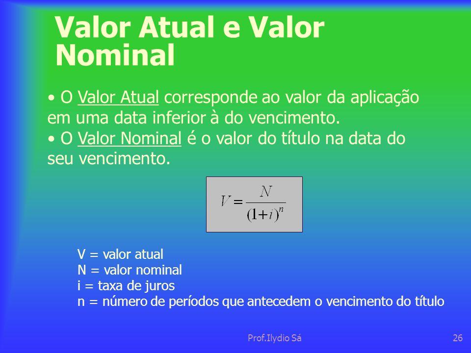 Prof.Ilydio Sá26 Valor Atual e Valor Nominal • O Valor Atual corresponde ao valor da aplicação em uma data inferior à do vencimento. • O Valor Nominal