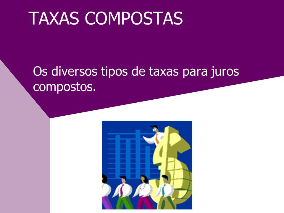 TAXAS COMPOSTAS Os diversos tipos de taxas para juros compostos.