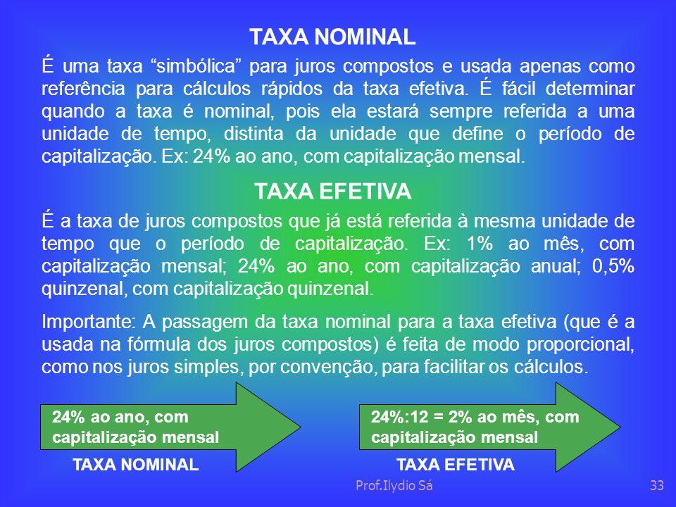 """Prof.Ilydio Sá33 TAXA NOMINAL É uma taxa """"simbólica"""" para juros compostos e usada apenas como referência para cálculos rápidos da taxa efetiva. É fáci"""