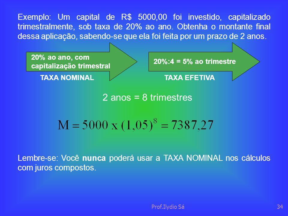 Prof.Ilydio Sá34 Exemplo: Um capital de R$ 5000,00 foi investido, capitalizado trimestralmente, sob taxa de 20% ao ano. Obtenha o montante final dessa