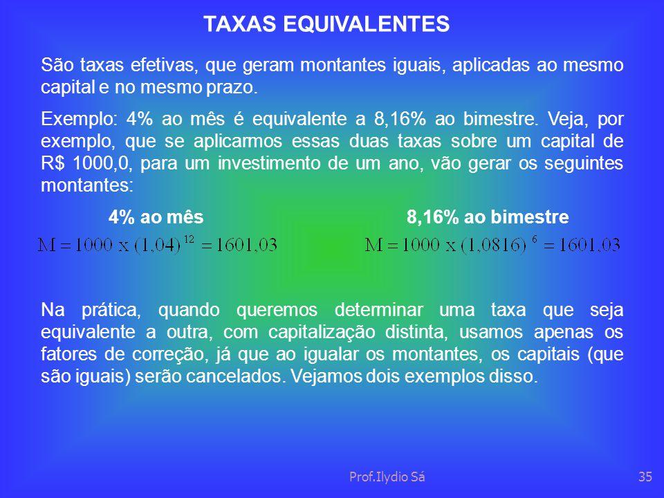 Prof.Ilydio Sá35 TAXAS EQUIVALENTES São taxas efetivas, que geram montantes iguais, aplicadas ao mesmo capital e no mesmo prazo. Exemplo: 4% ao mês é