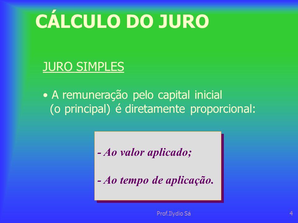 Prof.Ilydio Sá4 CÁLCULO DO JURO - Ao valor aplicado; - Ao tempo de aplicação. - Ao valor aplicado; - Ao tempo de aplicação. JURO SIMPLES • A remuneraç