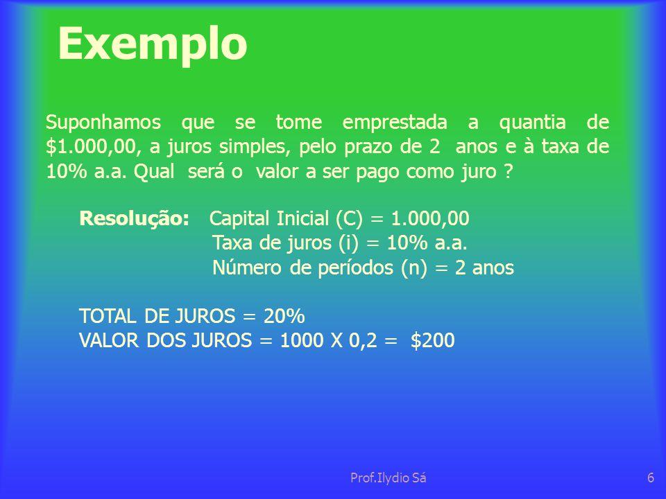 Prof.Ilydio Sá6 Exemplo Suponhamos que se tome emprestada a quantia de $1.000,00, a juros simples, pelo prazo de 2 anos e à taxa de 10% a.a. Qual será