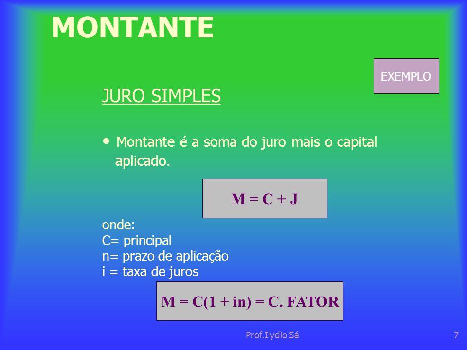 Prof.Ilydio Sá7 MONTANTE JURO SIMPLES • Montante é a soma do juro mais o capital aplicado. M = C + J onde: C= principal n= prazo de aplicação i = taxa