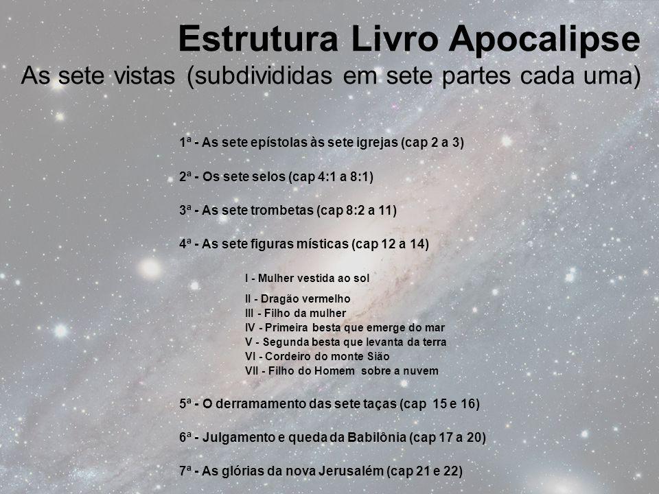 1ª - As sete epístolas às sete igrejas (cap 2 a 3) 2ª - Os sete selos (cap 4:1 a 8:1) 3ª - As sete trombetas (cap 8:2 a 11) 4ª - As sete figuras místi