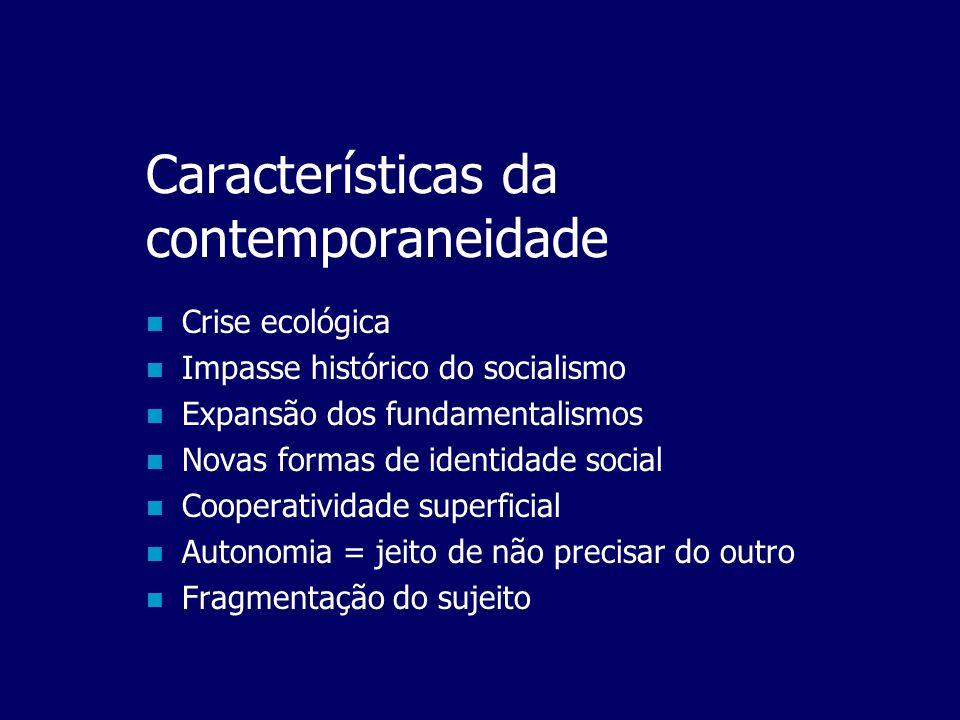 Características da contemporaneidade  Globalização  Comunicação instantânea  Volatilidade do capital  Ação à distância  Novos apartheids sociais