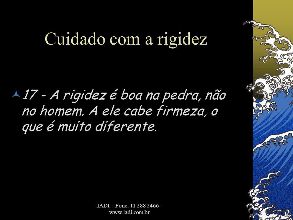 IADI - Fone: 11 288 2466 - www.iadi.com.br Cuidado com a rigidez  17 - A rigidez é boa na pedra, não no homem. A ele cabe firmeza, o que é muito dife