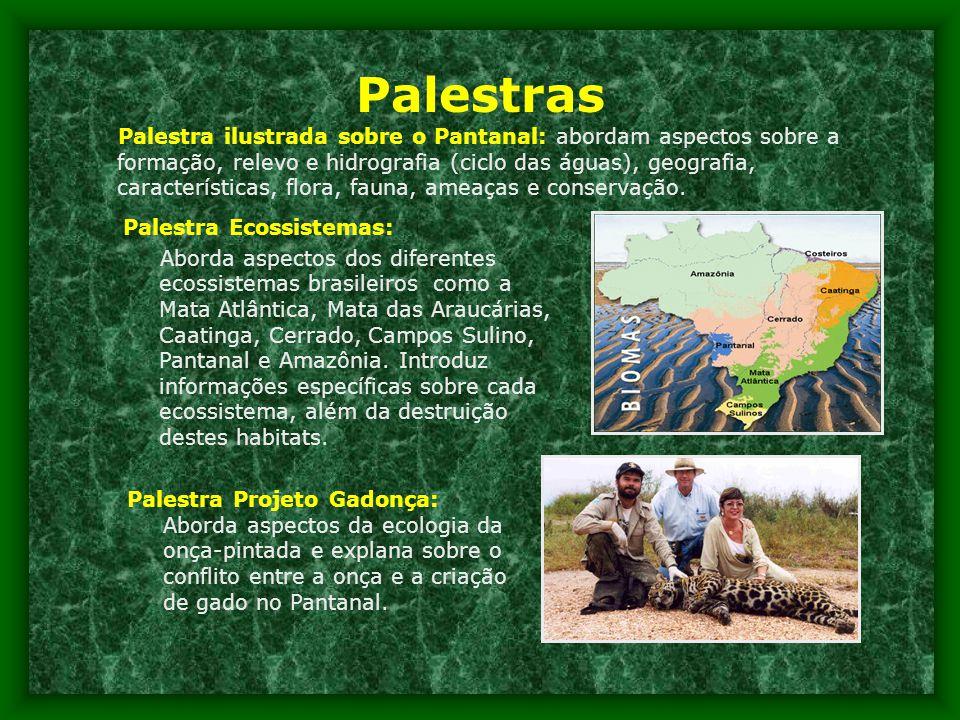 Palestras Palestra ilustrada sobre o Pantanal: abordam aspectos sobre a formação, relevo e hidrografia (ciclo das águas), geografia, características, flora, fauna, ameaças e conservação.