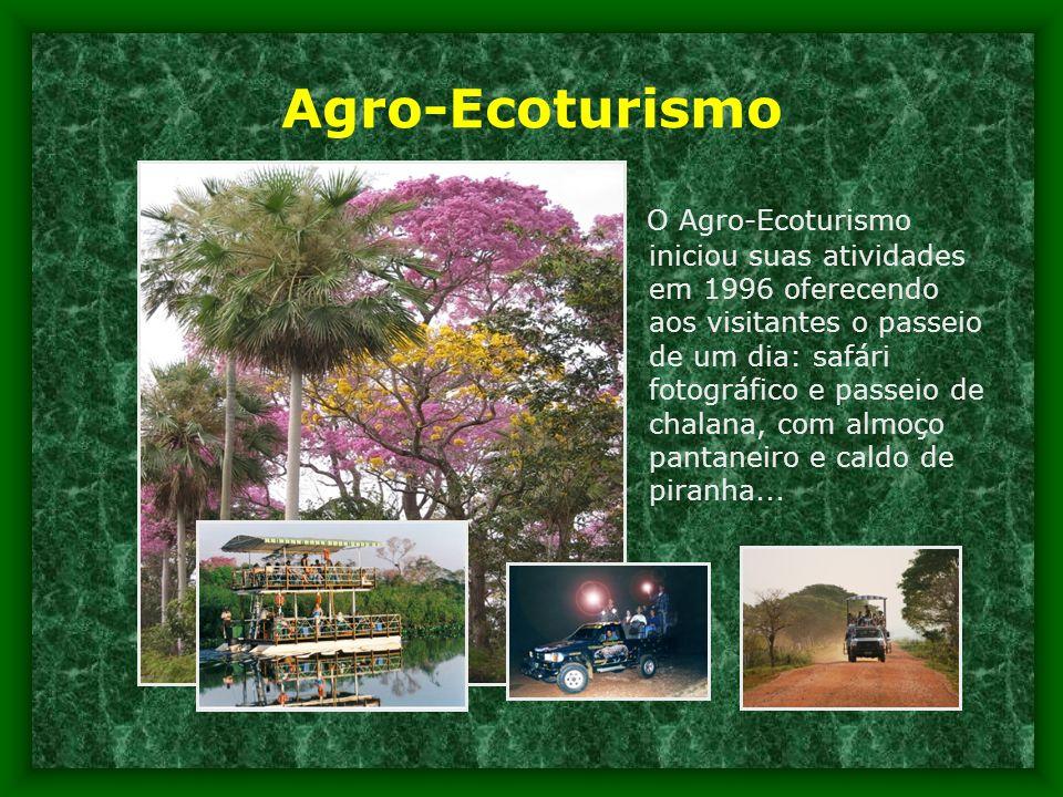Agro-Ecoturismo O Agro-Ecoturismo iniciou suas atividades em 1996 oferecendo aos visitantes o passeio de um dia: safári fotográfico e passeio de chalana, com almoço pantaneiro e caldo de piranha...