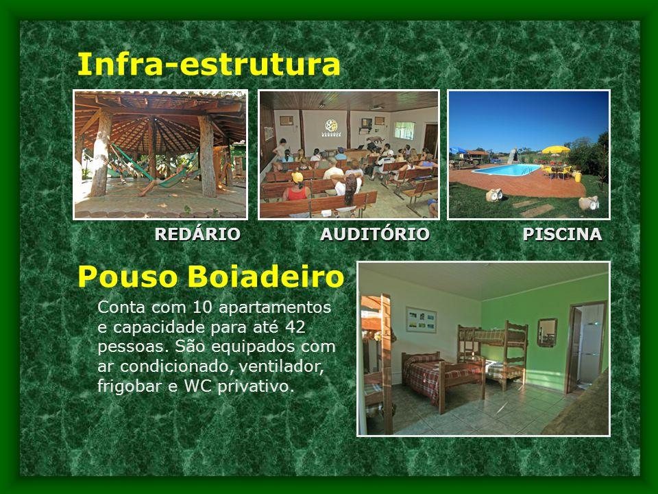 Infra-estrutura REDÁRIOPISCINAAUDITÓRIO Pouso Boiadeiro Conta com 10 apartamentos e capacidade para até 42 pessoas.