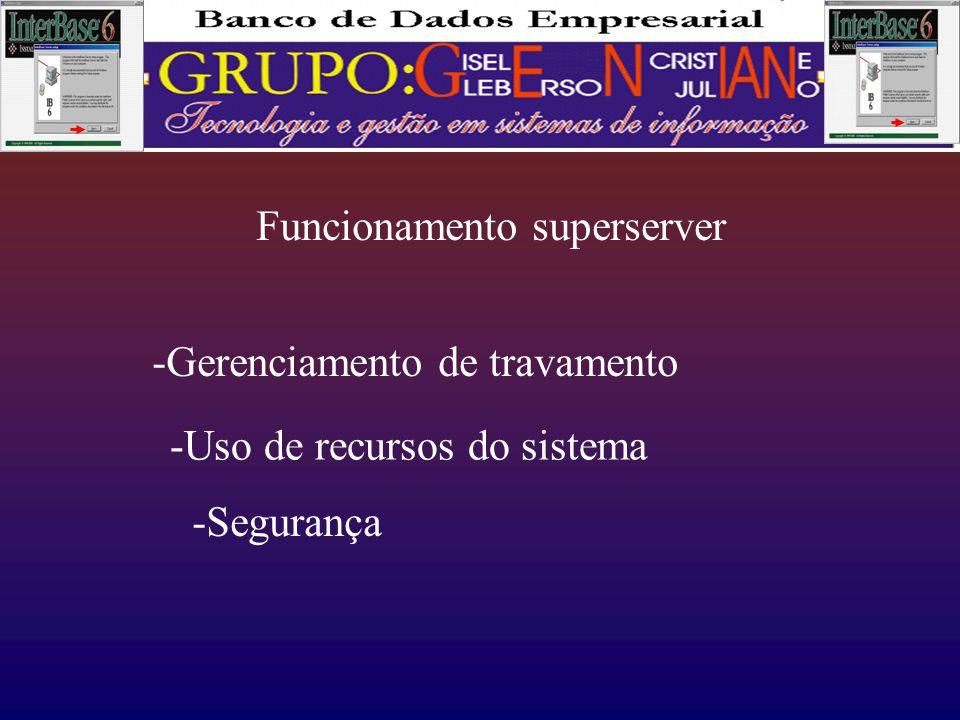 Funcionamento superserver -Gerenciamento de travamento -Uso de recursos do sistema -Segurança