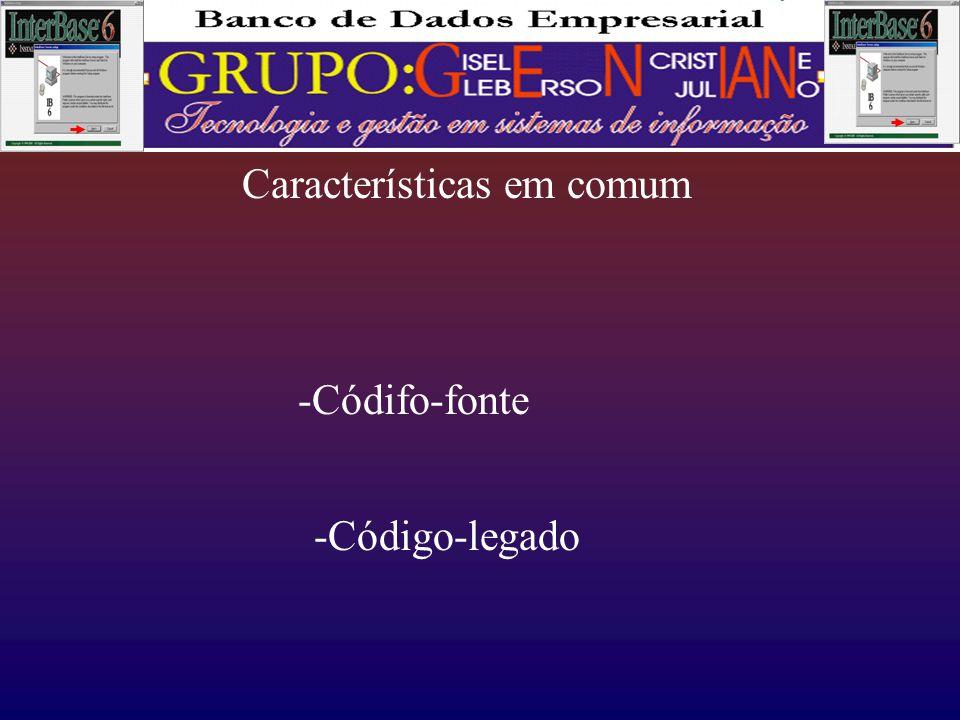 Características em comum -Códifo-fonte -Código-legado