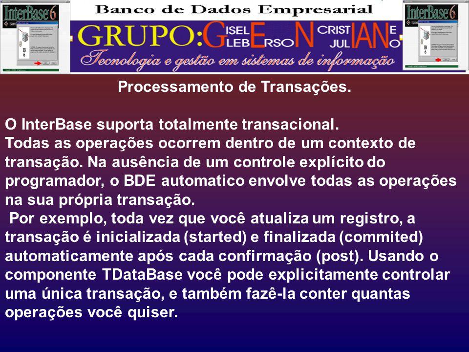 Processamento de Transações.O InterBase suporta totalmente transacional.