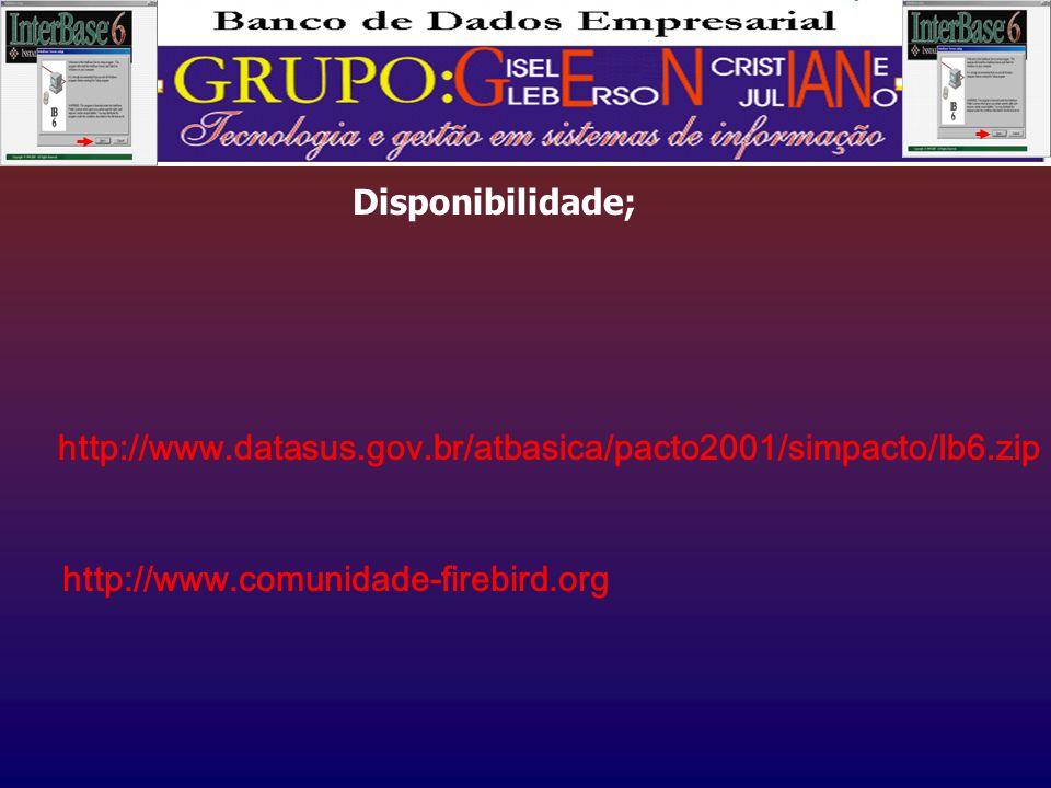 Disponibilidade; http://www.datasus.gov.br/atbasica/pacto2001/simpacto/Ib6.zip http://www.comunidade-firebird.org