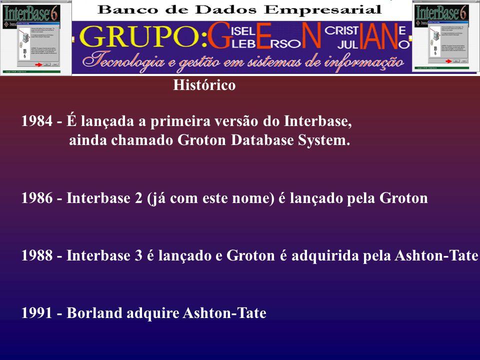 Histórico 1984 - É lançada a primeira versão do Interbase, ainda chamado Groton Database System.