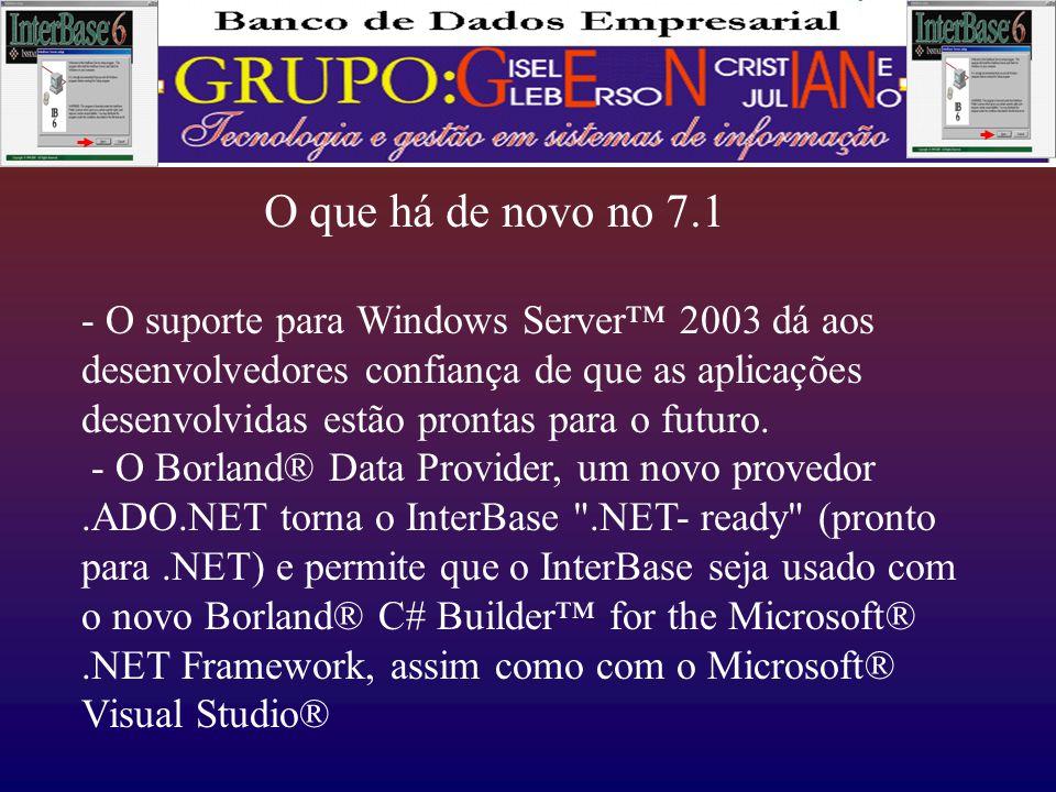 O que há de novo no 7.1 - O suporte para Windows Server™ 2003 dá aos desenvolvedores confiança de que as aplicações desenvolvidas estão prontas para o futuro.