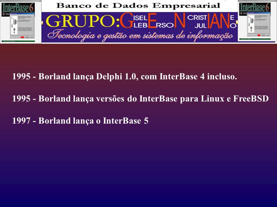 1995 - Borland lança Delphi 1.0, com InterBase 4 incluso.