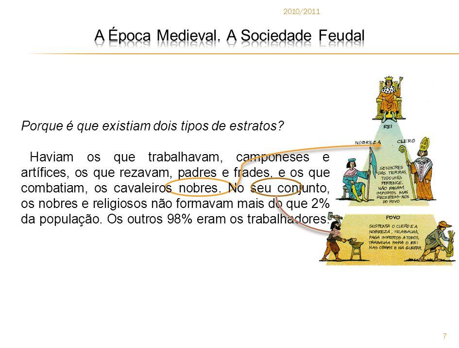2010/2011 8  A Estratificação Social é a separação da sociedade em grupos de pessoas que apresentam características parecidas, como por exemplo: negros, brancos, homem, mulher, pobres, ricos, etc.