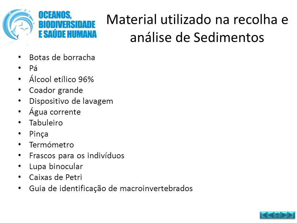Material utilizado na recolha e análise de Sedimentos • Botas de borracha • Pá • Álcool etílico 96% • Coador grande • Dispositivo de lavagem • Água co