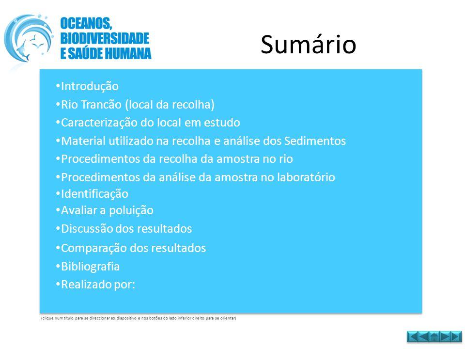 Sumário • Introdução Introdução • Rio Trancão (local da recolha) Rio Trancão (local da recolha) • Caracterização do local em estudo Caracterização do