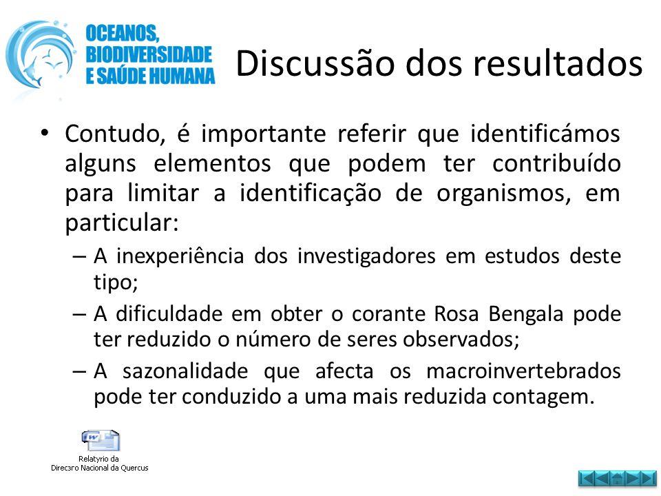 Discussão dos resultados • Contudo, é importante referir que identificámos alguns elementos que podem ter contribuído para limitar a identificação de