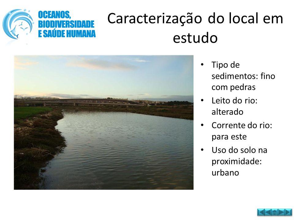 • Tipo de sedimentos: fino com pedras • Leito do rio: alterado • Corrente do rio: para este • Uso do solo na proximidade: urbano Caracterização do loc