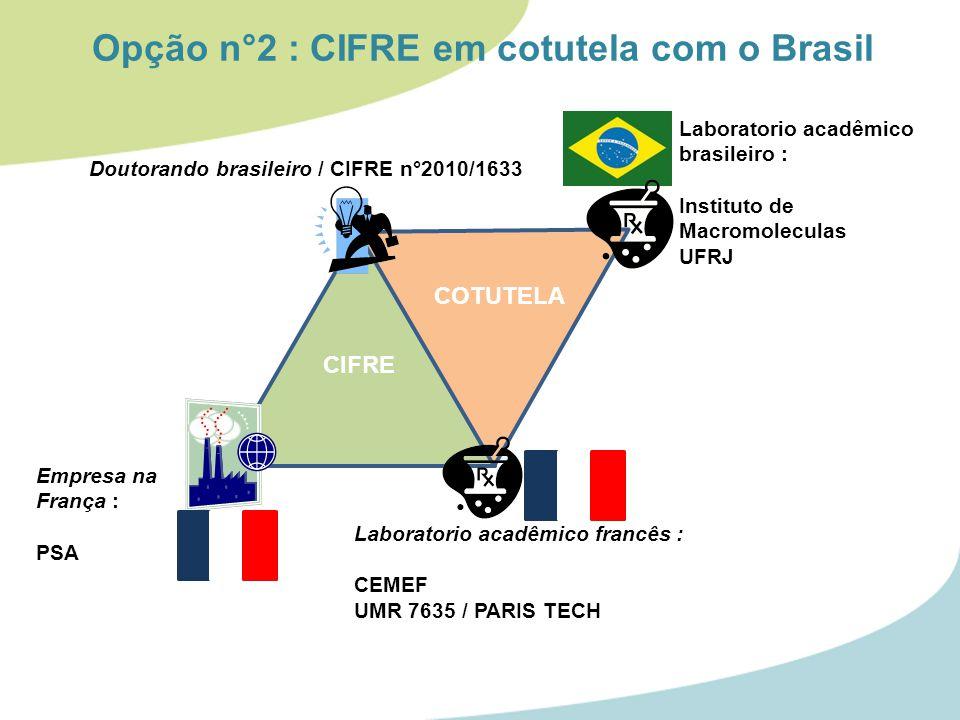 Doutorando brasileiro / CIFRE n°2010/1633 Empresa na França : PSA Laboratorio acadêmico francês : CEMEF UMR 7635 / PARIS TECH CIFRE Laboratorio acadêmico brasileiro : Instituto de Macromoleculas UFRJ Opção n°2 : CIFRE em cotutela com o Brasil COTUTELA