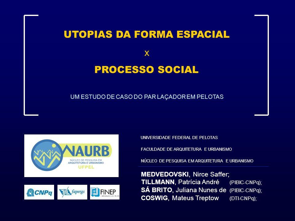 UTOPIAS DA FORMA ESPACIAL x PROCESSO SOCIAL MEDVEDOVSKI, Nirce Saffer; TILLMANN, Patrícia André (PIBIC-CNPq); SÁ BRITO, Juliana Nunes de (PIBIC-CNPq);