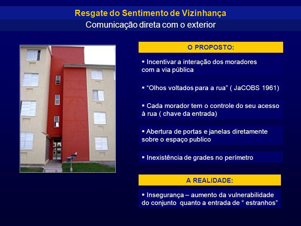 """ Incentivar a interação dos moradores com a via pública  """"Olhos voltados para a rua"""" ( JaCOBS 1961)  Cada morador tem o controle do seu acesso à ru"""