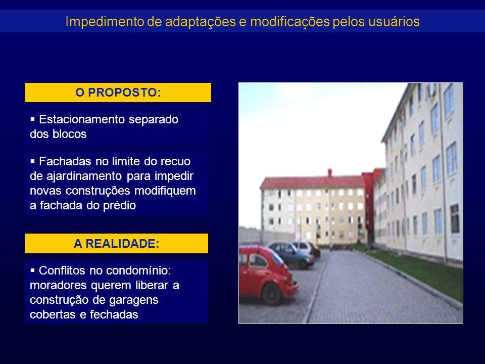 Impedimento de adaptações e modificações pelos usuários  Conflitos no condomínio: moradores querem liberar a construção de garagens cobertas e fechad